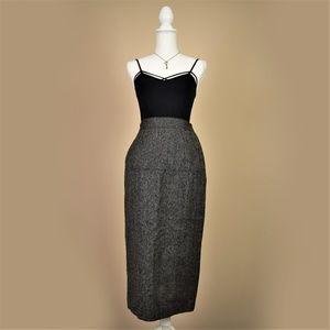 Vintage Tahari 100% Wool A-Line Midi Skirt